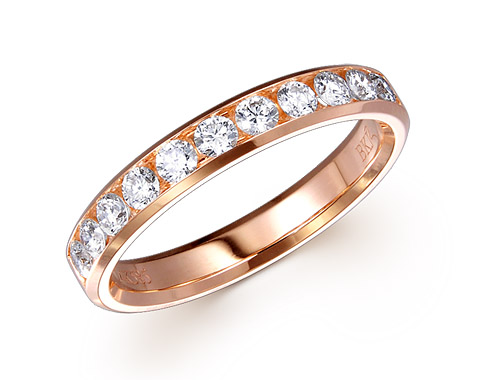 14k rose gold 0.50ct channel set diamond edge premium wedding band DDR01191-2