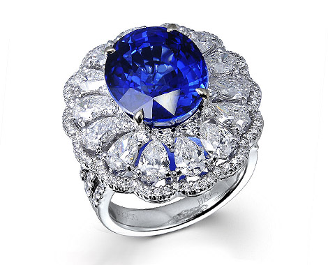 18k white gold 10.46ct oval shape blue sapphire ring SSR26061-7