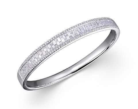 18k white gold 3.85ct total weight invisible set bangle DDA23334-7