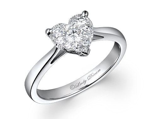 18k 1.50ct outlook heart shape Lady Dream diamond ring DDR01116-7