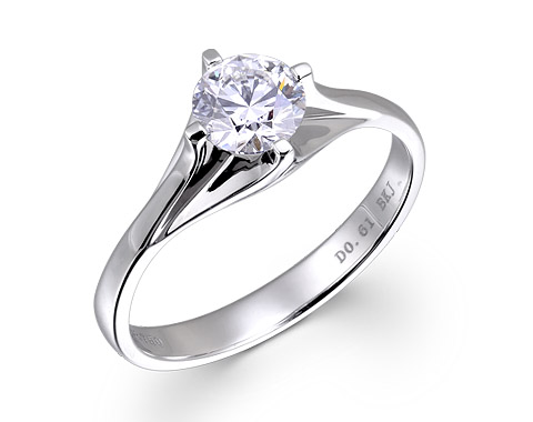18k white gold 0.61ct solitaire diamond engagement ring DDR16336-7