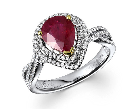 18k two tone 1.81ct pear shape ruby double halo twist shank ring RRR26726-7