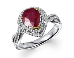 18k two tone 1.81ct pear shape ruby double halo twist shank ring RRR26726-7