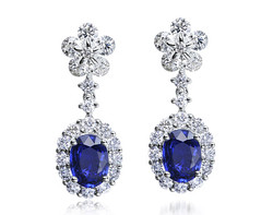 18k white gold 1.76ct oval shape blue sapphire danglong earrings SSE14378-7