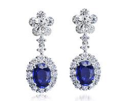 18k white gold 1.76ct oval shape blue sapphire danglong earrings SSE14378-7