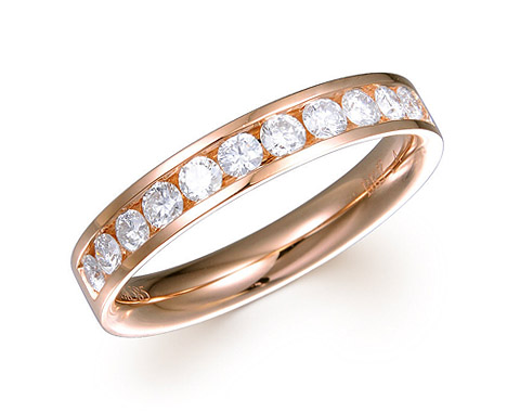 14k rose gold 0.50ct channel set comfort fit premium wedding band DDR01417-2