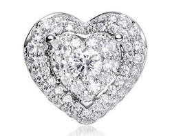 18k white gold 1.0ct outlook heart shape Lady Dream + 66D0.27ct diamond pendant
