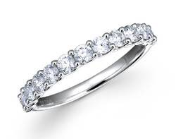 18k white gold 0.75ct share prong set diamond ring DDR00449-7