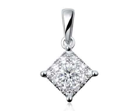 18k white gold 1.50ct outlook square shape Lady Dream diamond pendant