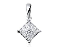 18k white gold 1.50ct outlook square shape Lady Dream diamond pendant