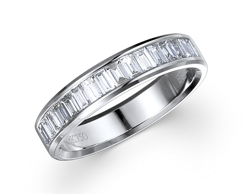 18k white gold 0.33ct channel set diamond edge premium wedding band DTR01599-7