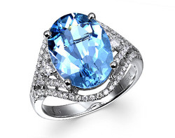 14k white gold 10x13mm oval shape aquamarine ring AQR26929-3