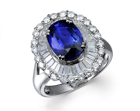 18k white gold 3.0ct oval shape blue sapphire ring SSR16411-7