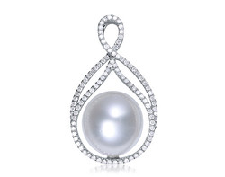 18k white gold 13.5mm white South Sea Pearl pendant SPP24433-7