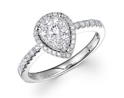 18k white gold 1.0ct outlook pear shape Lady Dream diamond ring DDR01213-7