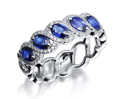 18k white gold 0.77ct oval shape sapphire ring SSR26020-7