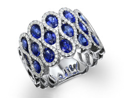 18k white gold 2.82ct oval shape blue sapphire ring SSR26706-7