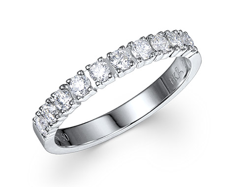 18k white gold 0.50ct prong set premium wedding band DDR01493-7