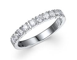 18k white gold 0.50ct prong set premium wedding band DDR01493-7