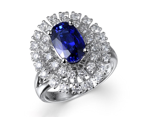 18k white gold 3.0ct oval shape blue sapphire double halo ring SSR26014-7