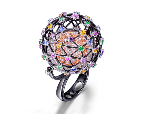 18k black gold milti color galaxy ring & pendant CLR23832-9