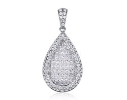 18k white gold 1.20ct TW pear shape invisible set diamond pendant DPP23866-7