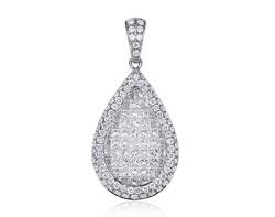 18k white gold 1.20ct TW pear shape invisible set diamond pendant DPP23866-7