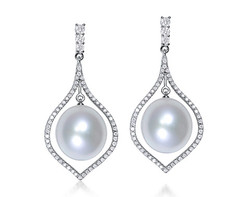 18k white gold 12.5mm white South Sea Pearl earrings SPE24400-7
