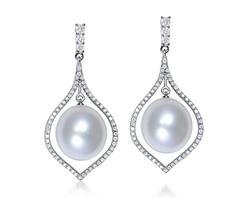 18k white gold 12.5mm white South Sea Pearl earrings SPE24400-7