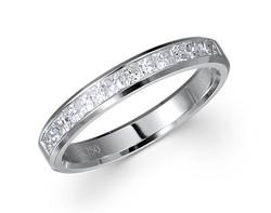 18k gold 0.50ct channel set princess diamond band with diamond edge DPR01604-7