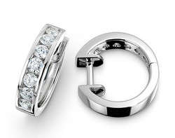 18k white gold 0.75ct channel set diamond earrings DDE00157-7
