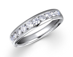 18k white gold 0.50ct channel set comfort fit diamond ring DDR00030-7