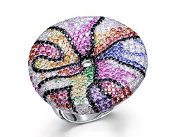 18k white gold multi color sapphire painting mask ring CLR00210-7