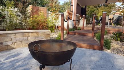 Corten firepit - Garden design Amaroo