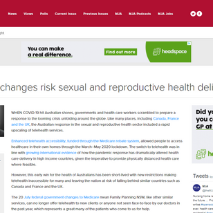 Telehealth changes risk sexual and reproductive health delivery
