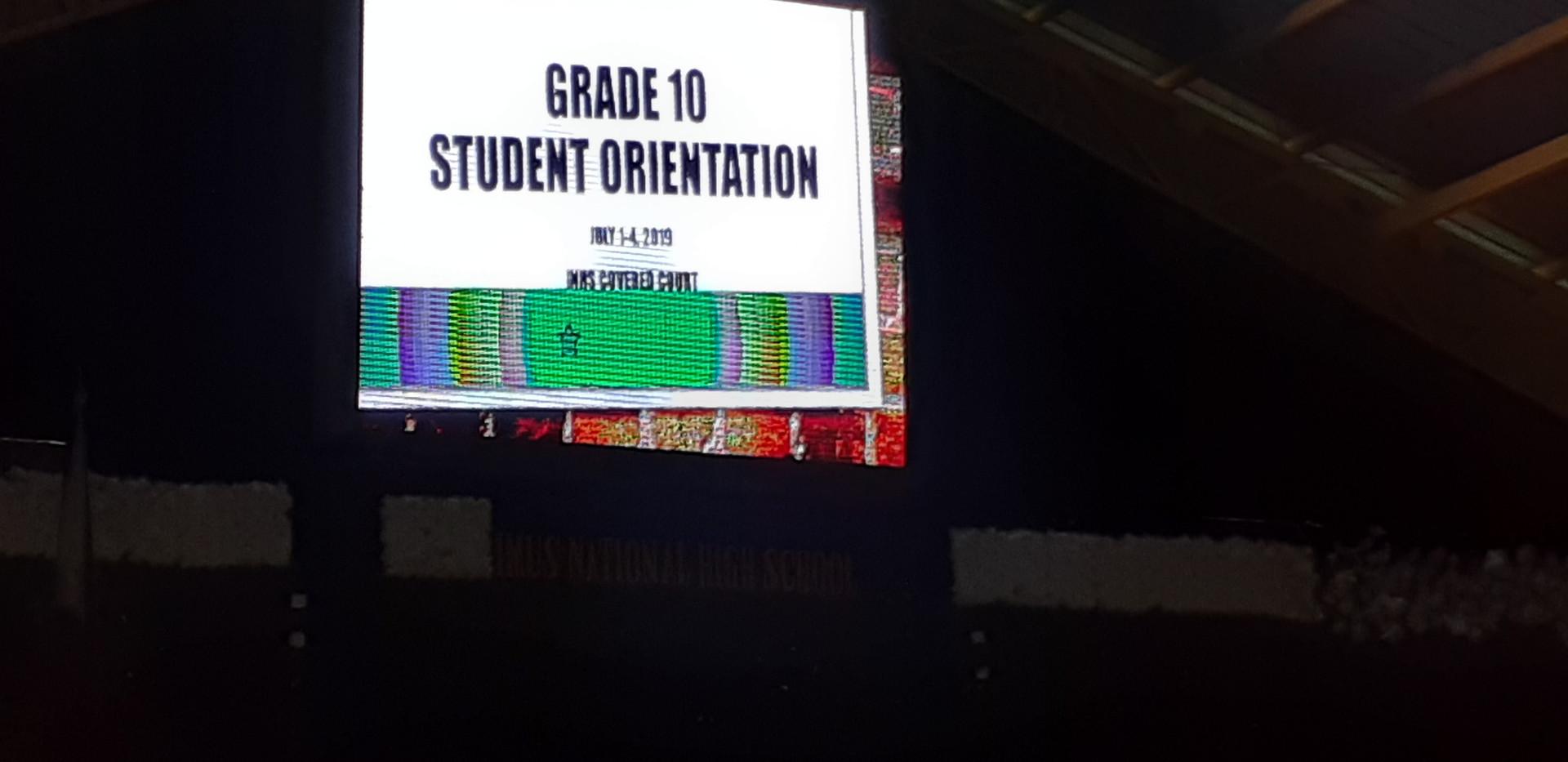 Grade 10 Student Orientation