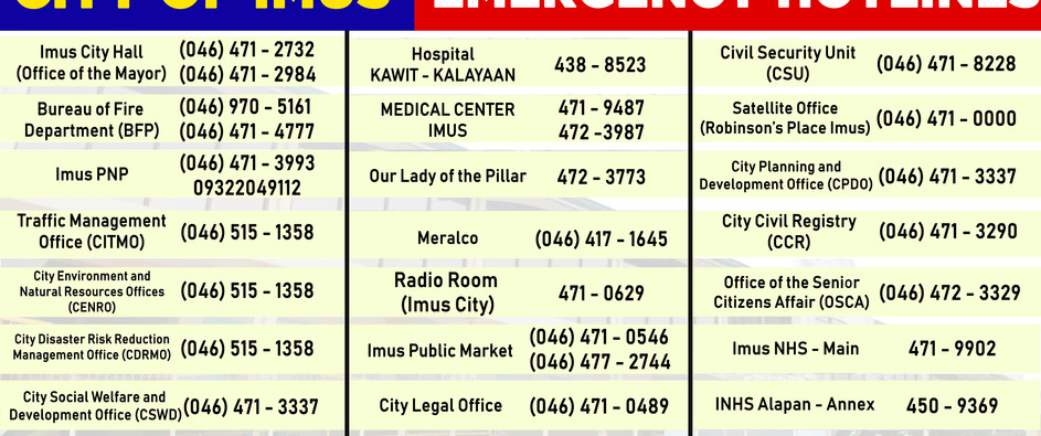 City of Imus Emergecy Hotlines