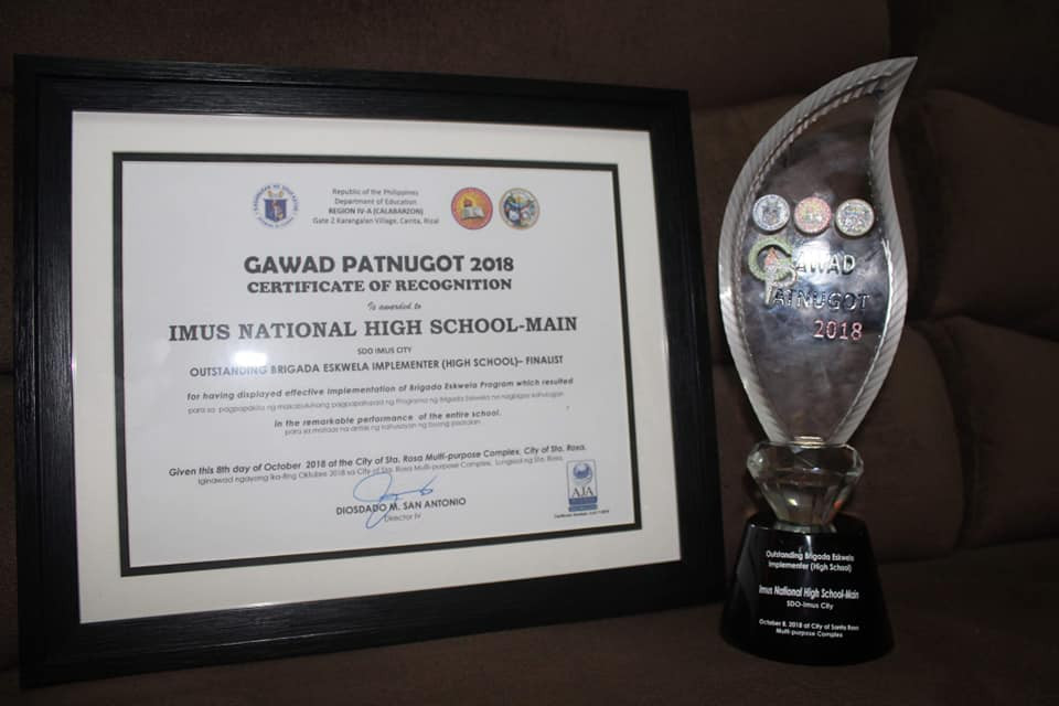 Certificate and Trophy