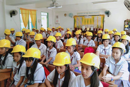 PhotoOp with Students and Teachers wearing Hard Hat