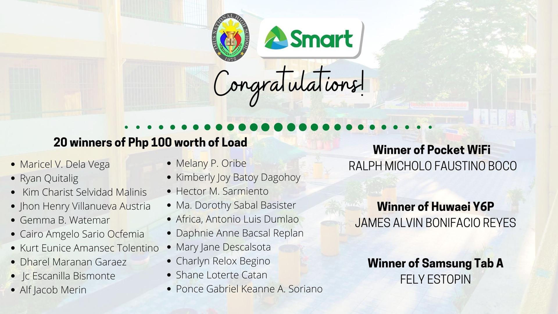 Winners of Smart Communications, Inc. Raffle