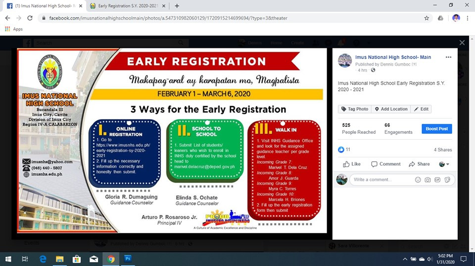Online Registration, Crafting of Early Registration Infomercial and Information Dissemination through Social Media with the expertise of the ICT Coordinator Mr. Dennis Jay G. Gumboc, Guidance Teacher Marivel T. Dela Cruz and 10-Einstein