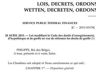 Augmentation des droits de greffe - publication de la loi du 28 avril 2015