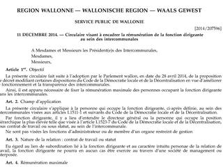 Le Gouvernement wallon précise la rémunération maximale des dirigeants d'intercommunales