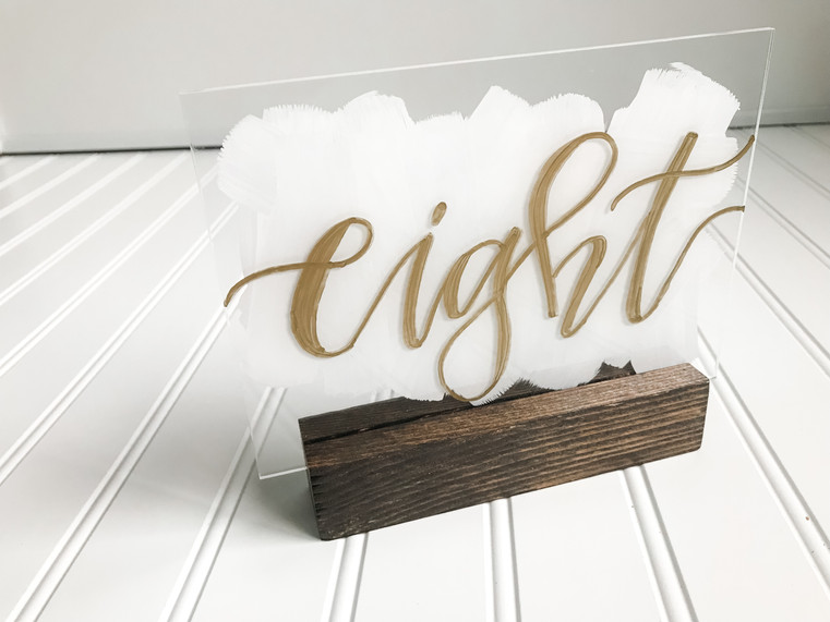 Eight Painted Acrylic Table Number with