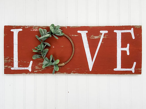 Red Barn Wood Sign - LOVE