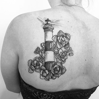 Lighthouse and some hens and chicks for