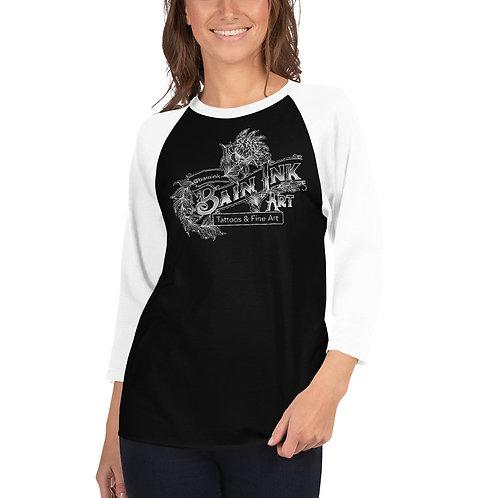 Bain Ink Art Logo - 3/4 sleeve raglan Baseball shirt (black)