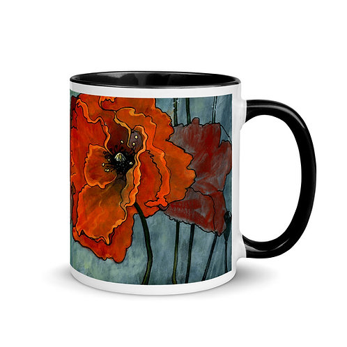 Poppies - Mug with Black Inside