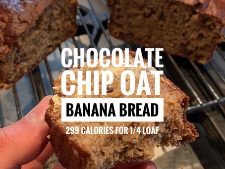 Chocolate Chip Oat Banana Bread - Only 299 Calories for a Quarter of the Loaf!