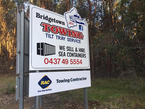Bridgetown Towing Highway Sign